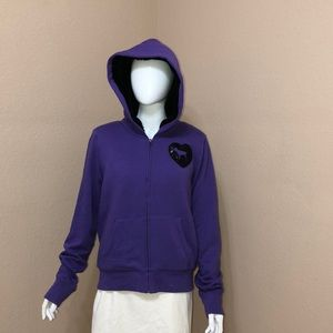 VS PINK Purple Hoodie Zipper Sweater (Large)